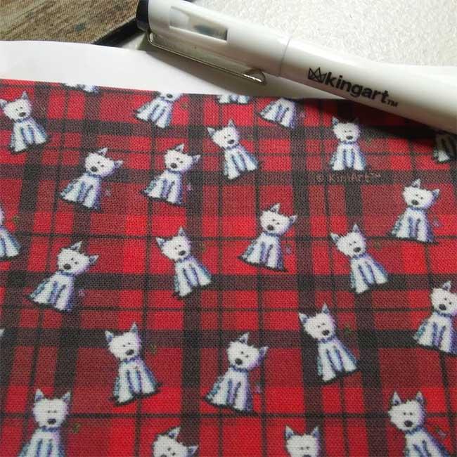 KiniArt Westie Red Plaid Fabric