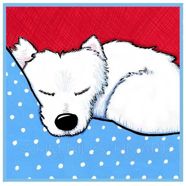 KiniArt Westie Dog Tired Painting