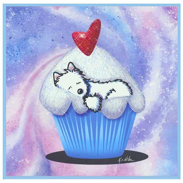 Embellished Cupcake Westie print