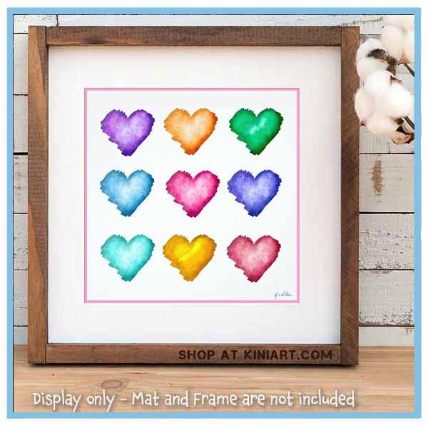Watercolor Hearts Print