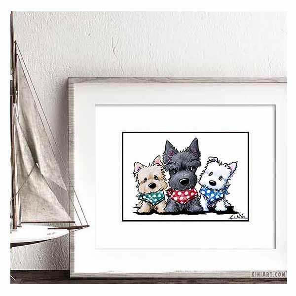 Terrier Trio in Mock Frame