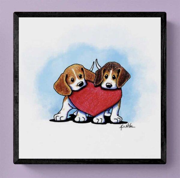 KiniArt Beagle Duo Mixtiles print
